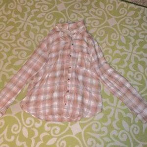 Pink plaid button up shirt